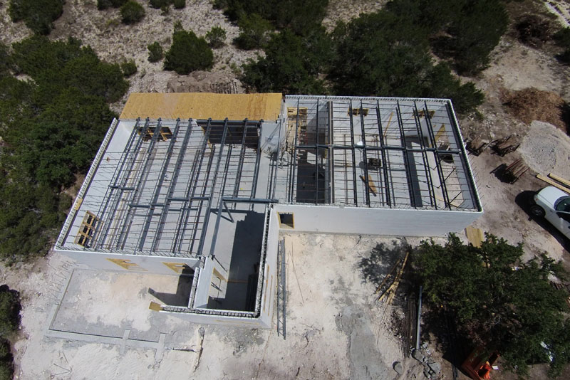 Modern concrete home in texas hill country custom icf for Concrete homes texas